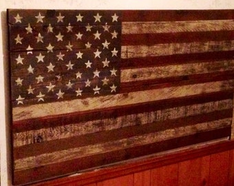 American Flag made from reclaimed barn wood..