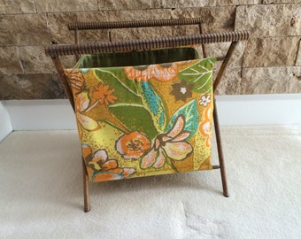 Vintage  Wood and Fabric Sewing/Knitting Tote PRICE REDUCED 10.00