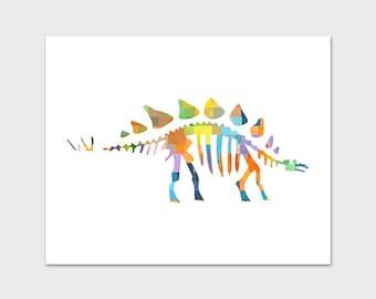 Dinosaur Print, Dinosaur Printable Art, 8x10 Nursery Print, Rainbow Print, Colorful Nursery Art, Stegosaurus Print, Instant Download