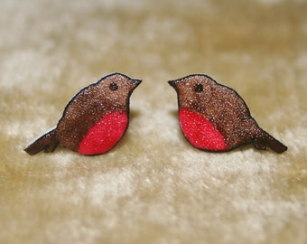 Hand painted Robin earrings