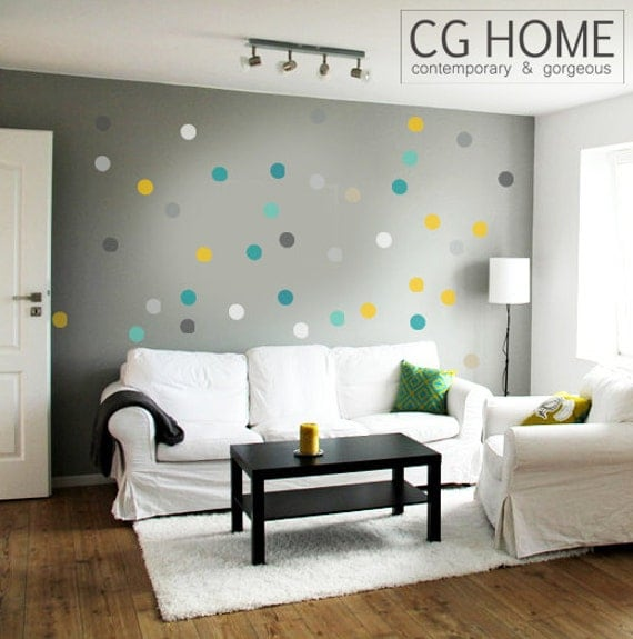 Confetti Wall Stickers 2 inches Polka Dots Rainbow Circle Wall Decal 10 colors wall stickers for kids CGHOME multicolor Nursery decor
