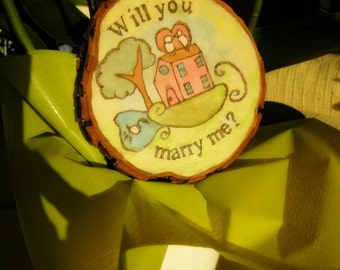 Romantic Marriage Proposal Painting on wood