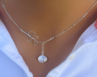 Fresh Water Coin Pearl Lariat Necklace