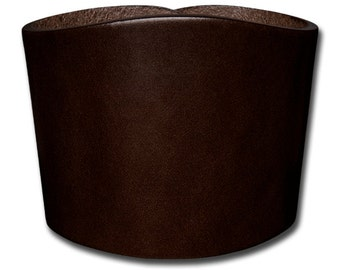 Plain Thick Leather Bracelet Wristband Cuff 60mm Brown with Snap Fastener (Nickel Free)