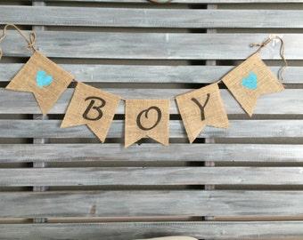 Boy Burlap Banner, Baby Boy Burlap Banner, Boy Sign, Boy Baby Shower, Baby Announcement Prop, Burlap Boy, Banner