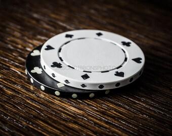 Poker Photography, Poker Chips, Wall Art, Home Decor, Office Decor, Still Life