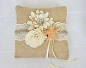 Burlap Ring Pillow with Sola flowers and starfish / Bearer pillow / Rustic