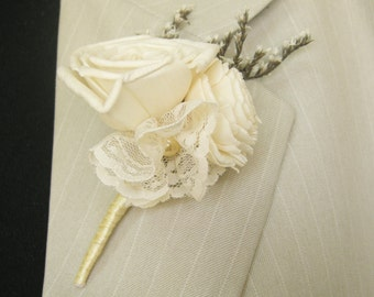 Boutonniere, Groom boutonniere, Sola Flower, Wedding Boutonniere  Wedding Flowers