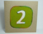 Green 2 Birthday card for Two year old girl or boy hand stitched rainbow stitching
