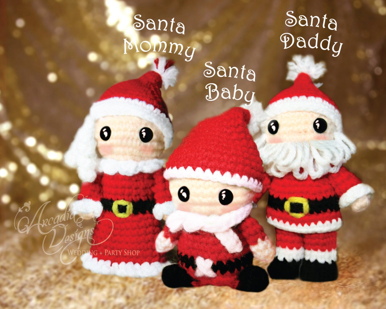 Amigurumi Crochet Christmas Ornaments : Christmas Ornament Crochet Amigurumi Santa Claus Family
