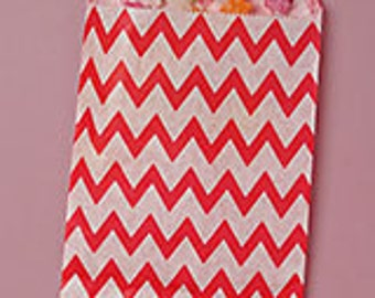 """5-1/8"""" x 6-3/8"""" Red Zig Zag Candy Bags - 20 Quantity"""