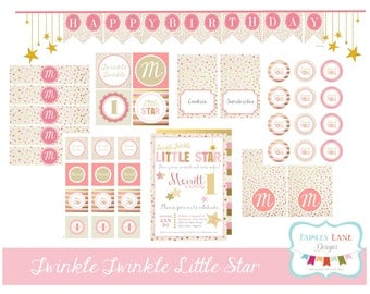 Twinkle Twinkle Little Star Birthday Party Printable Package, Twinkle Twinkle Little Star Birthday, Pink Star Birthday, Star Birthday