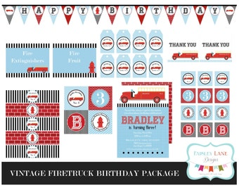 Vintage Fire Truck Birthday Party Printable Package, Vintage Fire Truck Birthday, Vintage Fire Truck, Fire Truck