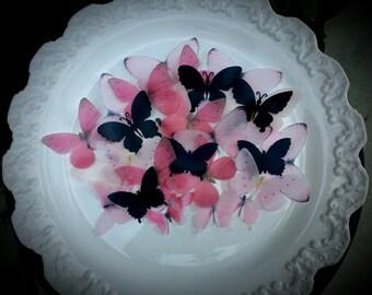 Edible Pastel Pink and Black Sugar Butterflies- Cake/Cupcake toppers Set of 30