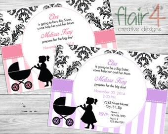 Big Sister - Baby Shower Invitation - Digital File (5x7 Landscape)