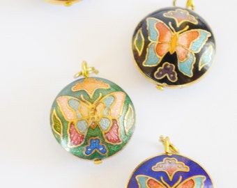 vintage cloisonne round pendant. butterfly necklace. colorful jewelry