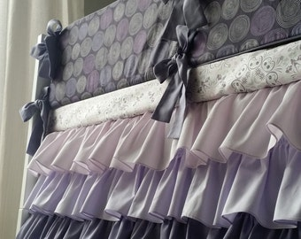 Crib bumper, purple baby bedding set, 4 sections, cot bumper, nursery