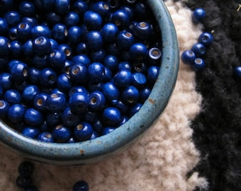 Indigo Colored Wood Beads 8mm Cobalt Dark Blue Necklace Beads Wooden Jewelry Supply Round 8mm Indigo Blueberry Dye Color 25 Beads Pack