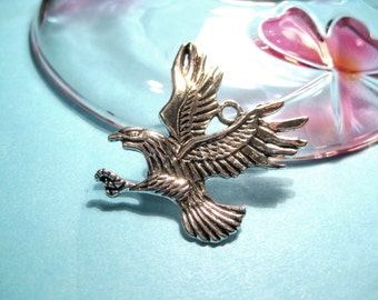 2pcs Antique Silver Eagle Charm Pendants 42x41mm (No.458)