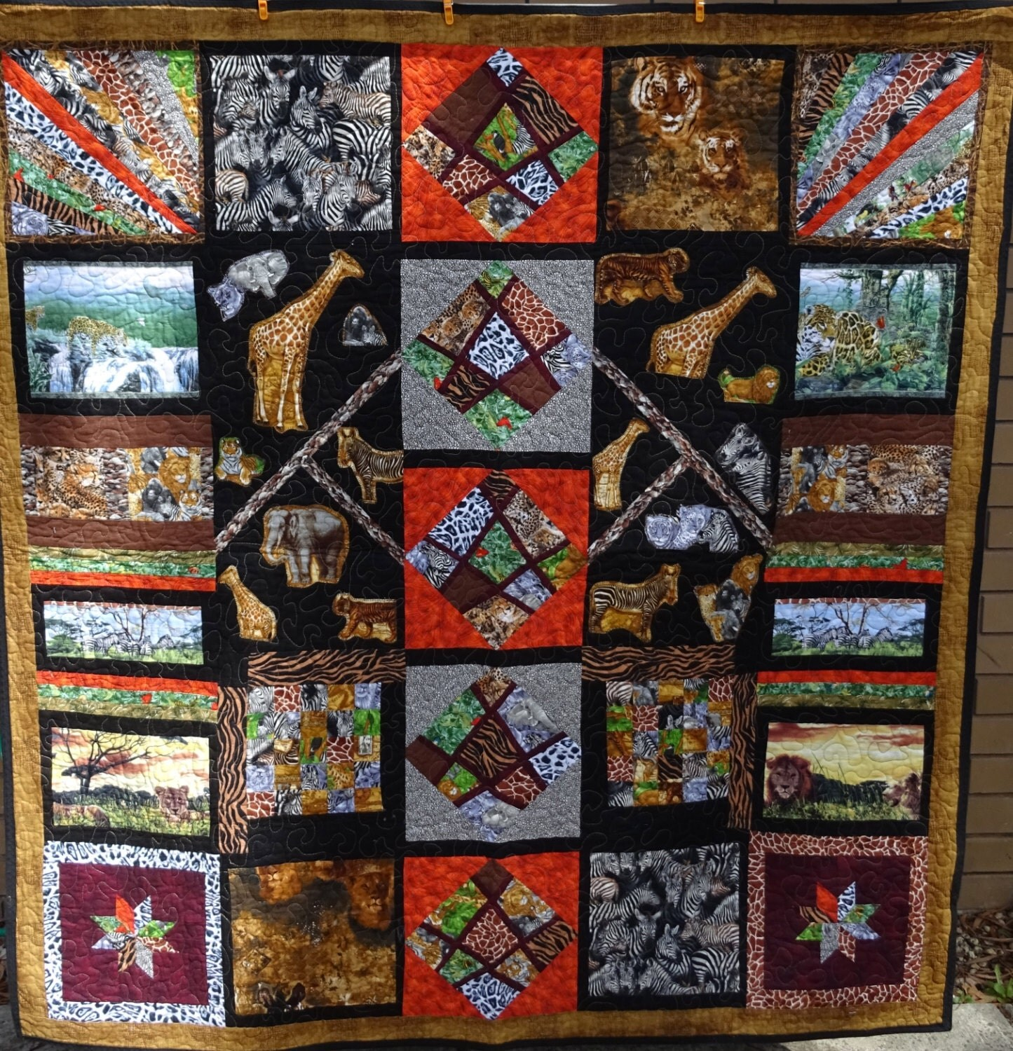 African Themed Quilt Throw Rug Or Wall Hanging