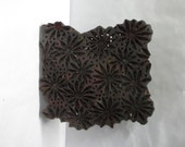 Antique Indian wooden hand carved textile printing fabric block / stamp Deep Grooves FLORAL carving design PRINT pattern LARGE