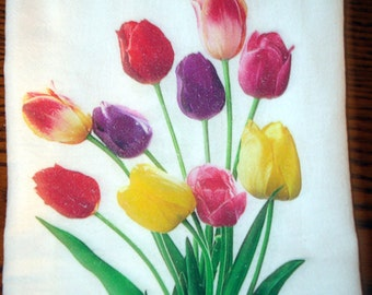 Flour Sack Kitchen Towel, Tulips