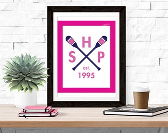 Custom Monogram Paddle Print    Prep Avenue Print Collection    Preppy Home  Decor