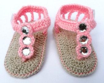 Crochet Baby Girl Flip Flops with Gems, Crochet Baby Sandals in Pink