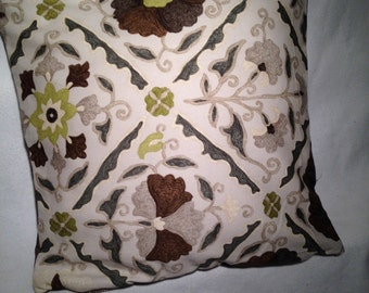 Bold Graphic print Pillow Cover in Brown, Lime Green Tan.