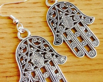 Large Hamsa hand, hand of Fatima, hand of god, palm earrings