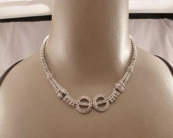 Vintage Art Deco Sterling Paste Choker Necklace.