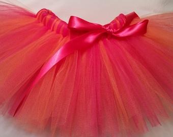 Hot Pink and Orange Tutu, Pink and Orange tutu, infant tutu, baby tutu, newborn tutu, toddler tutu, girl tutu, birthday tutu, preemie tutu