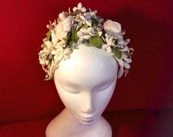 Floral 1950 fascinator hat