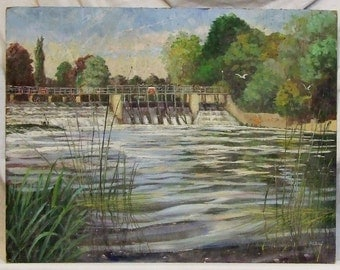 David Aldus  original vintage painting River Thames Boulters Weir Reading England listed artist Freight cost extra etsy global gift