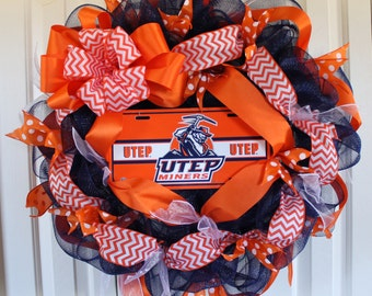 UTEP Miners Wreath. Custom professional or college sport team deco mesh wreath. El Paso Miners Custom wreath. Made to order football wreath