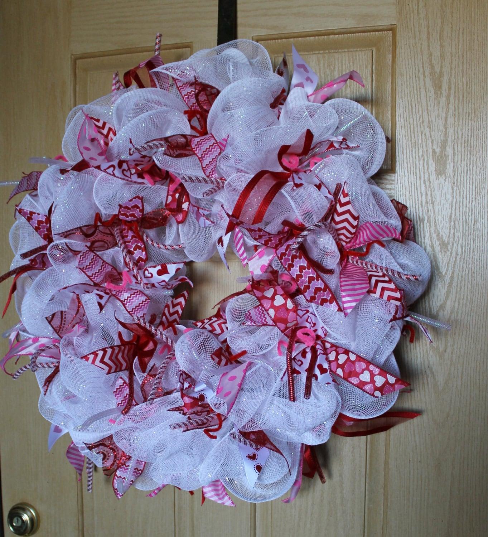Deco Mesh Valentine's Day Wreath. Valentine