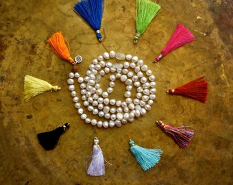 White pearl mala beads, Custom mala necklace, Neon tassel necklace, Bright color tassel necklace, Customisable chakra mala