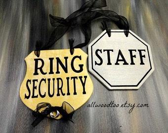 Wedding Ring Bearer Sign Funny Ring Bearer Sign Staff Wedding Sign Ring Security Sign Set Flower Girl Sign Wooden Wedding Signs Photo Props