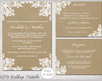 Rustic Wedding Invitation Set DIY