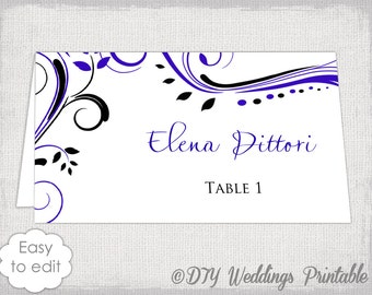 "Place cards template Royal blue and Black ""Scroll"" name cards DIY wedding printable place card templates - Word instant download Avery 5302"