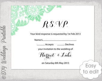Wedding libs rsvp template download diy mad libs rsvp template download diy mint wedding response card antique lace printable digital wedding templates pronofoot35fo Images