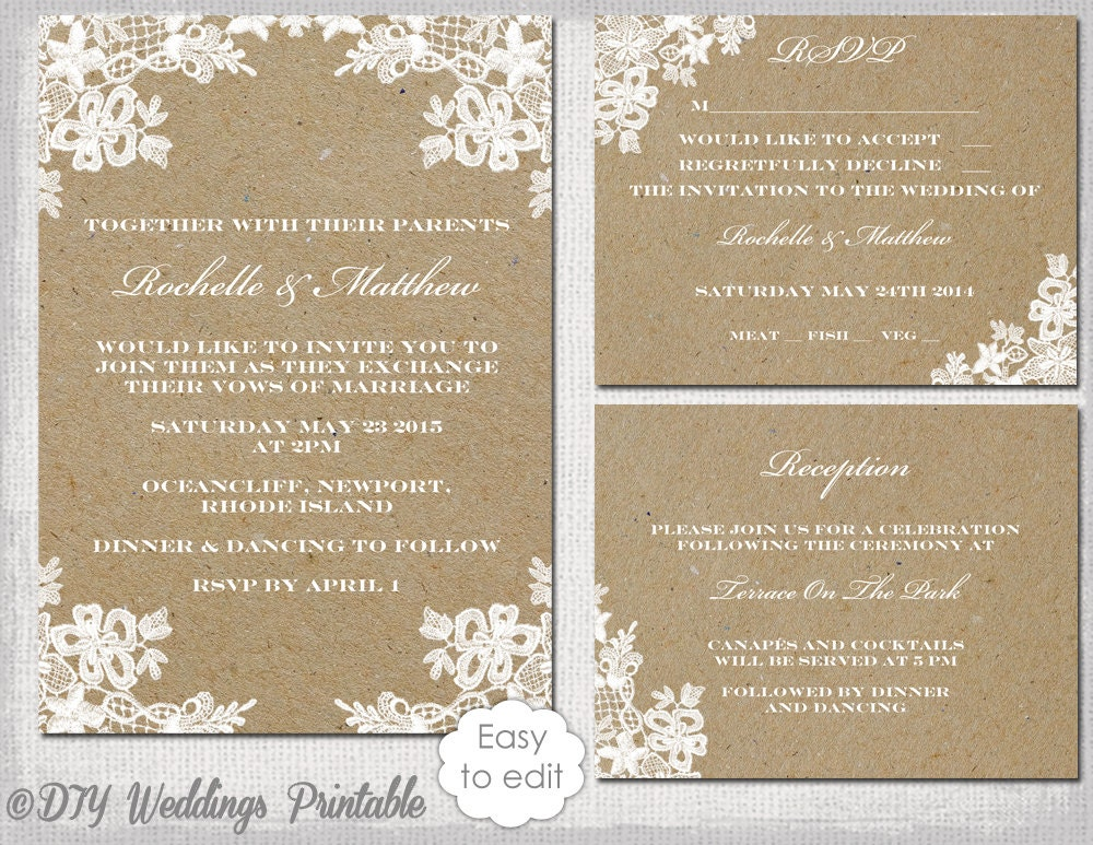 rustic wedding invitation set diy rustic lace. Black Bedroom Furniture Sets. Home Design Ideas