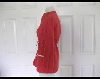 Vintage Crisp Red Windbreaker. Tie Waist. Linen. Adorable!