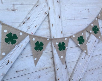 St Patricks day Decor, St Patricks Day Banner, Shamrock Garland, Burlap Banner Bunting, Irish Polka Dot St Patrick's Day