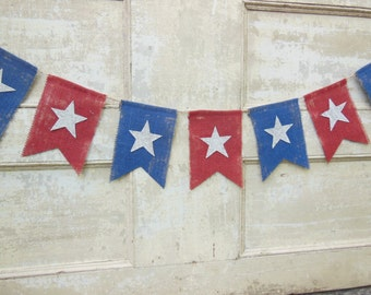 American Flag Banner, Patriotic Banner, Patriotic Bunting, 4th of July Banner Garland, Patriotic Decor, Star Banner, Burlap Bunting Garland