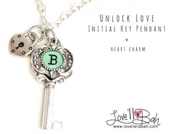 Initial Key Charm Necklace with Heart Charm