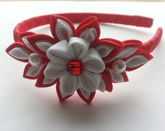 Kanzashi headband.Red and white headband.Fabric flower headband.