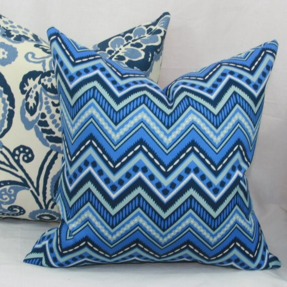 Items similar to Blue chevron indoor/outdoor throw pillow cover. 16