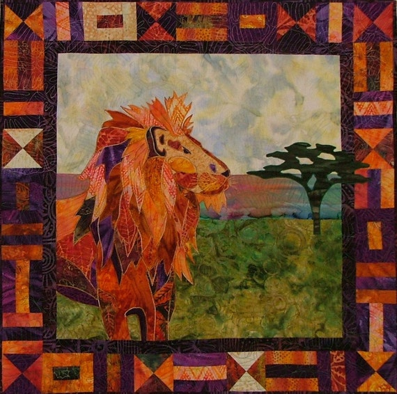 Bj designs patterns leonardo african lion applique quilt for Bj custom designs