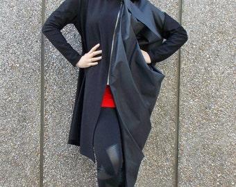 Extravagant Black Jacket / Bohemian Asymmetric Jacket / Artistic Black Trench TC39 NEW